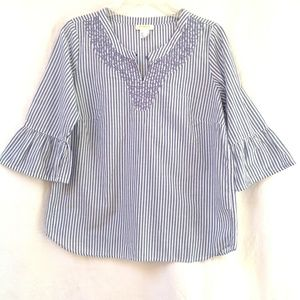 AMBRIA Blue White Stripes Bell Sleeve Embroidery